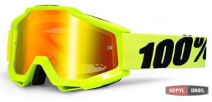 Мото очки 100% ACCURI Goggle Fluo Yellow - Mirror Gold Lens