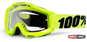 Мото очки 100% ACCURI Goggle Fluo Yellow - Clear Lens
